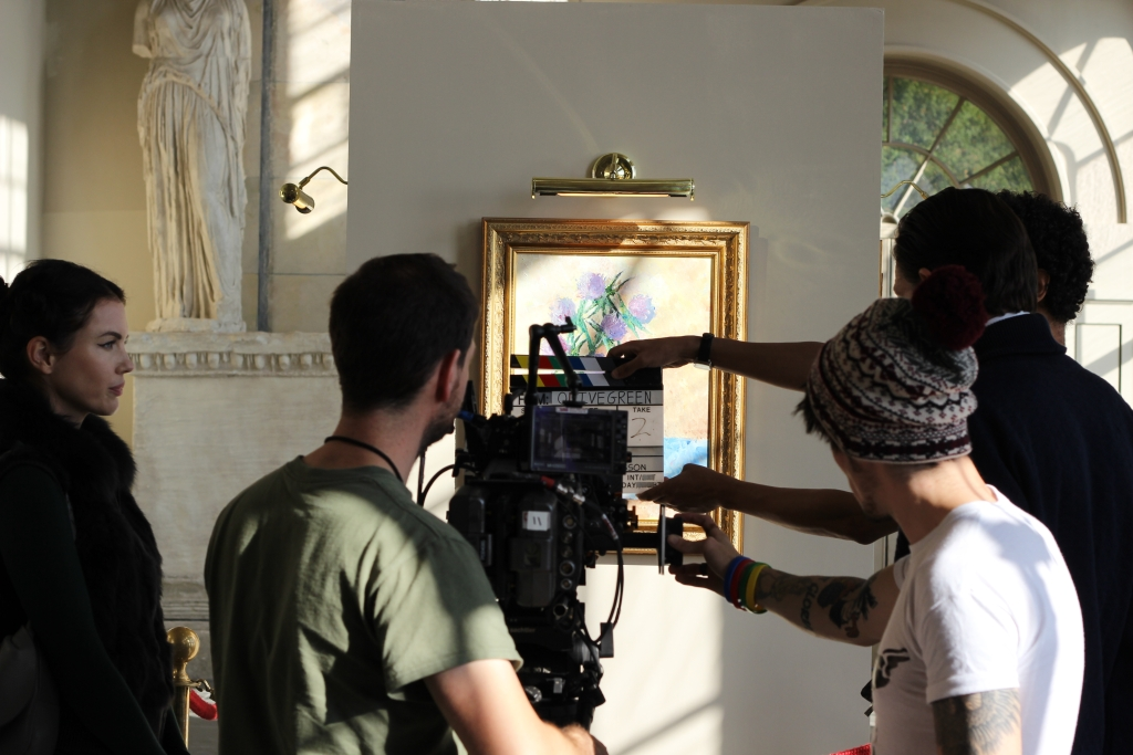 Shooting a scene with the painting